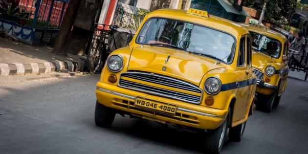 Kolkata Ambassador Taxi Yellow
